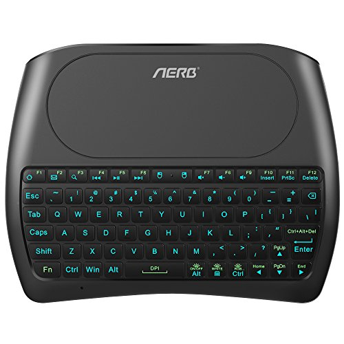 Aerb D8 Mini Wireless Keyboard with Touchpad Mouse Backlit Rechargable 2.4GHz USB Handheld Remote for Computer, HTPC, TV, Google Android TV Box (New Release)
