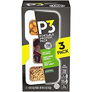 P3 Honey Roasted Peanuts, Sweet & Spicy Teriyaki Beef Jerky & Sunflower Kernels (5.4 oz Trays, 3 Count)