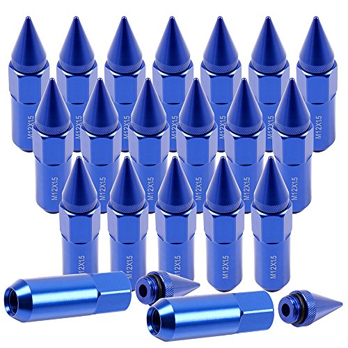SCITOO 20PCS Blue Lug Nuts 60mm Tall, 12×1.5 Thread Size, Fits for Acura Integra/MDX/RDX/TL Honda Accord/Civic/CR-V/Element/Insight Toyota Camry/Celica/Corolla 1986-2012