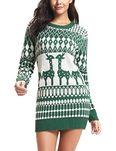 Women's Ugly Christmas Sweater Dress Reindeer Snowflakes for sale  Delivered anywhere in USA