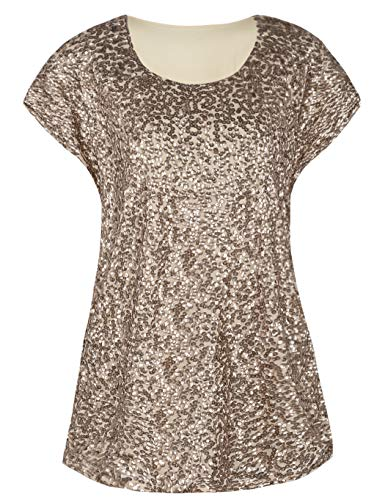 Black Embellished Tunic - kayamiya Women's Night Out Tops Tops Sparkly Sequin Embellished Blouse Tunic Top Champagne L/US12-14