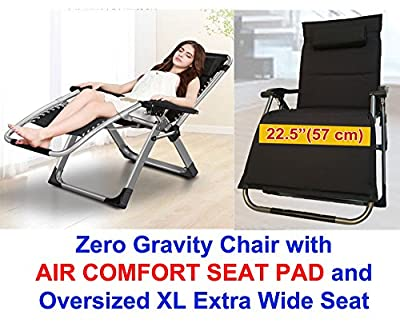 "Four Seasons With Removable AIR COMFORT SEAT PADDED CUSHION OVERSIZED XL Extra Wide Seat (Width 22.5"") Heavy Duty Zero Gravity Chair Lounge Recliner Folding With Square Legs Support 330 LBS"