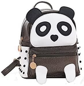 I IHAYNER Girls Fashion PU Leather Panda Book Bag Rivet Women Mini Casual Style Panda Backpack