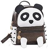 Girls Fashion PU Leather Panda Book Bag Rivet Women Mini Casual Style Panda Backpack Bronze