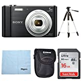Sony W800/B DSC-W800/B DSCW800B 20 MP Digital Camera 5x Optical Zoom (Black) Bundle with 16GB SDHC Memory Card, Table top Tripod, Deluxe Case, and Lens Cleaning Cloth