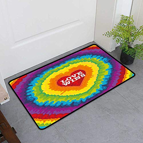 Custom&blanket Welcome Door Mat, Pride Decorations Decorative Imdoor Rugs for Office, Love Valentines Celebration with Tie Dye Rainbow Colors Happiness Vintage (Multicolor, H24 x W36)