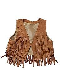 21KIDS Child Girl Tassel Fringed Outerwear Faux Suede Fur Jacket Waistcoat Vest Gilet