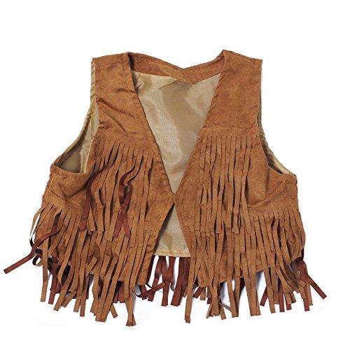 Hippie Vintage Vest (21KIDS Child Girl Tassel Fringed Outerwear Faux Suede Fur Jacket Waistcoat Vest Gilet)