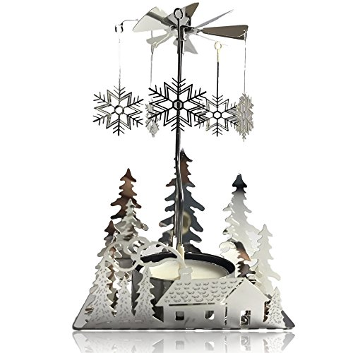 BANBERRY DESIGNS Spinning Winter Candle Holder - Silver Plated Laser Cut Winter Scene Design with Snowflake Charms - Tea Light Candle Holder - Scandinavian Design