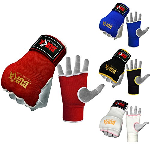 BUKA Training Boxing Gel Inner Gloves MMA Fist Bandage Padded Knuckle Pro Mitts (Red, S/M) ()