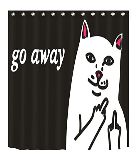 Happy Camping Funny Black Bear Shower Curtain Liner Bathroom Polyester Fabric
