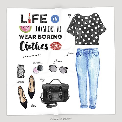 [Custom Watercolor Fashion Illustration Casual Outfit Life Is Too Short To Wear Boring Clothes Quote 294897602 Soft Fleece Throw Blanket] (Katy Perry Roar Outfit)