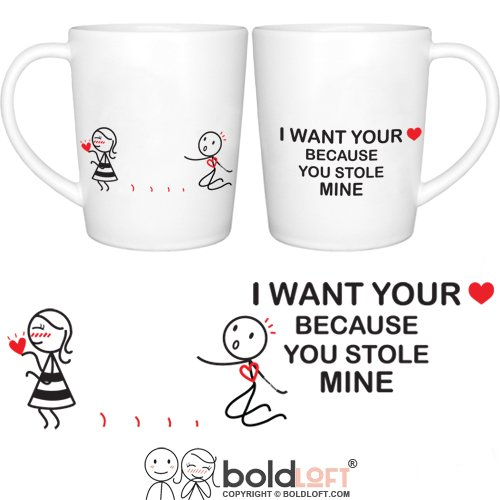 BOLDLOFT You Stole My Heart His & Hers Coffee Mugs|Christmas Gifts for Girlfriend,Wife|Romantic Gifts for Her,Anniversary,Valentine's Day,Birthday|Wife Gifts from Husband|Cute Couples Gifts