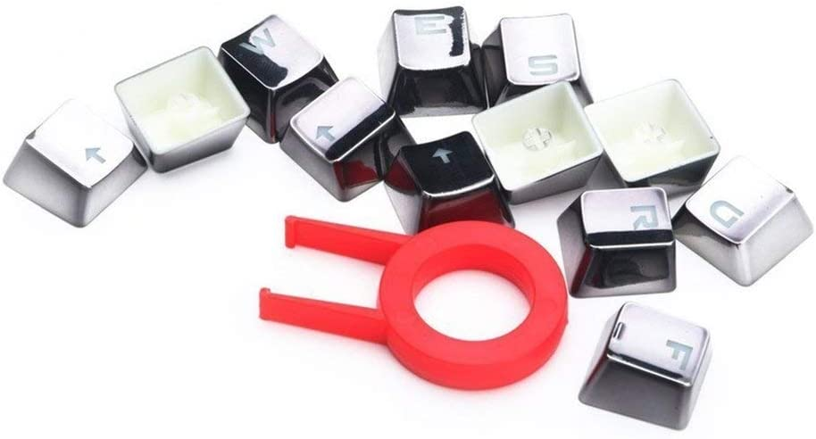 Keyboard keycaps 12 Backlit Keycaps with Key Pullers for Mechanical Keyboards Colore : Silver
