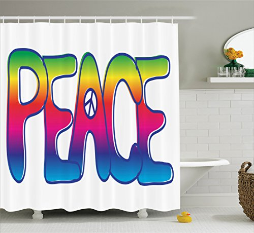 (Ambesonne 1960s Decorations Collection, Colorful Rainbow Text with Peace Sign Activism Idealism Politics Letters Sixties Symbol, Polyester Fabric Bathroom Shower Curtain, 84 Inches Extra Long, Pink)