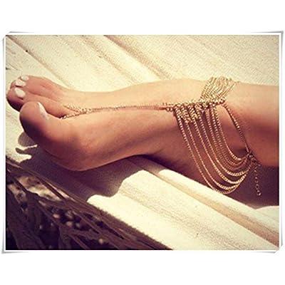 Nice Women Boho Golden Foot Chain,Golden Anklet Tassels Feet Chain,Slave Toe Chain Body Jewellry Decor Chic Fashion supplier