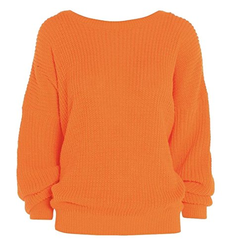 FashionMark Womens Long Sleeves Knitted Baggy Style Oversize Plain Jumper Sweater]()