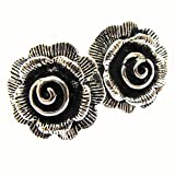 WEIGHT 4.06 G. COOL THAI KAREAN HILL TRIBE SILVER ROSE EARRING BY HAND MADE