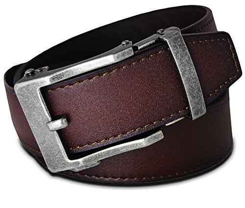 - Men's Leather Ratchet Click Belt - Lincoln Antique Silver Buckle with Brown Rosewood Leather Belt (Trim to Fit: Up to 38'' Waist)