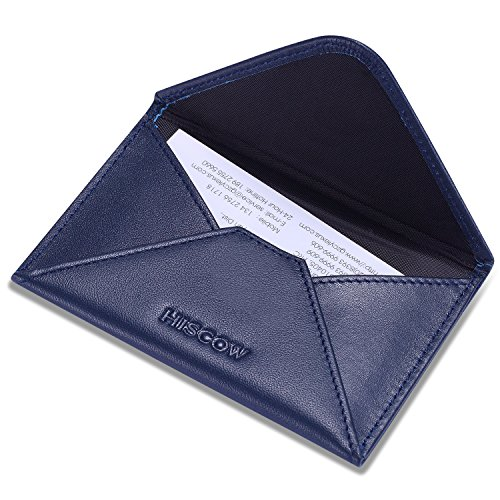 (HISCOW Envelope Business Card Case with Magnet Closure - Italian Calfskin (Dark Blue))