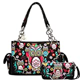 Owl Purse and Wallet Set, Colorful Satchel Western Handbag Style (Black P)