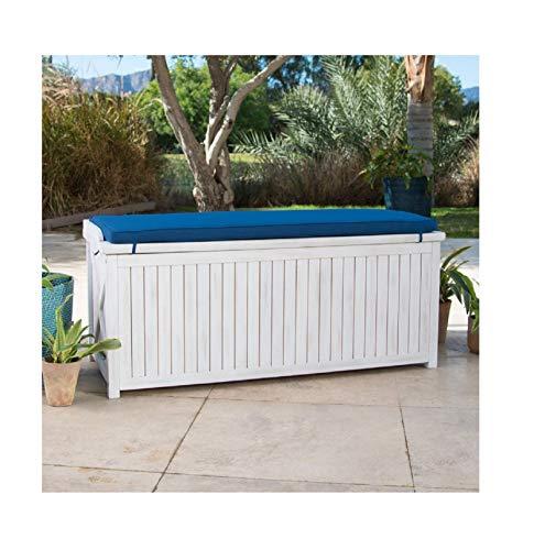 (Home Improvements Coastal White Wash Finish Eucalyptus Wood Deck Storage Box Patio Storage Bench With Blue Cushion Outdoor Storage)