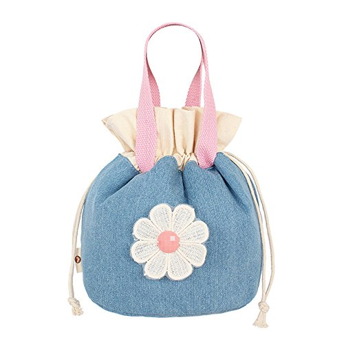 qearly creativa Portable Demin–Borsa pranzo borsa porta pranzo Kuehl Borsa Tote Custodia per fiori rosa