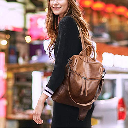 Fashion Backpacks Shoulder Brown Women Vintage School Bags PU Casual Leather Female Backpack wxUxFqIY1