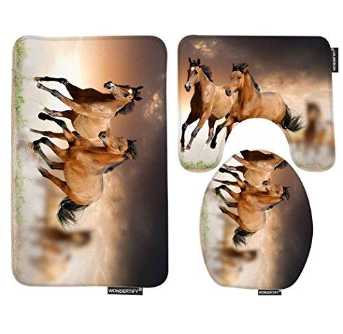 Kitchen Horse Decor (Wondertify Bath Mat,Horse,Running Horses Bathroom Carpet Rug,Non-Slip 3 Piece Bathroom Mat Set)