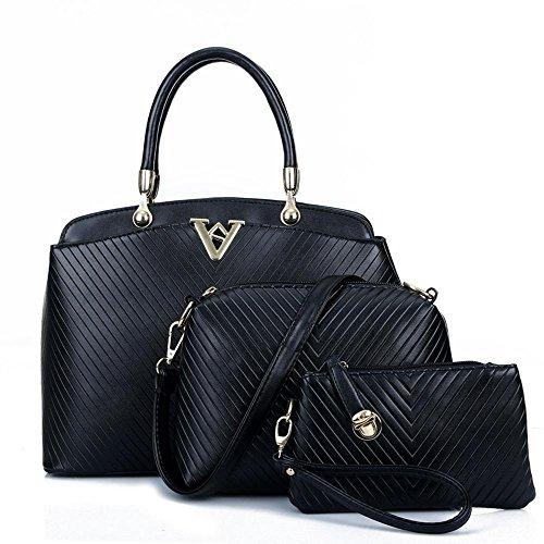 Aoligei Des femmes sac à main PU v three-piece mode casual femelle sac B