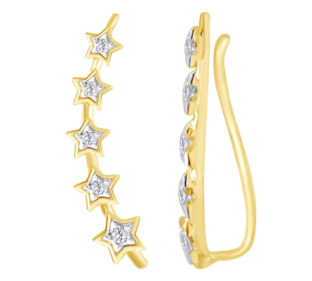 Star Climber Ear Crawler Earrings In 10k Yellow Gold With Round Cut White Natural Diamond (0.1 cttw)