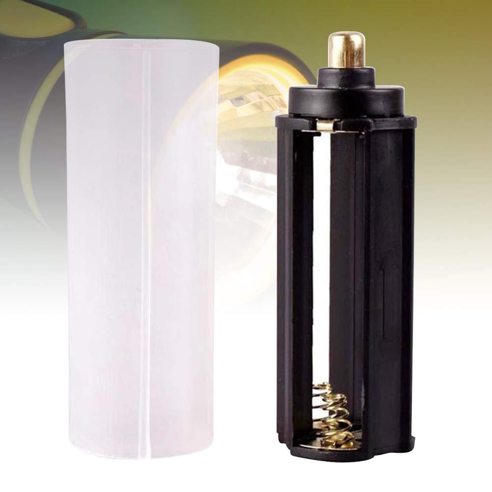 Tipo de Caja cil/índrica de Caja de Soporte de bater/ía AAA de Metal pl/ástico de 2 Piezas Negro para 18650 Linterna