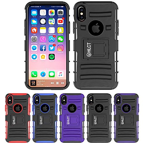 Price comparison product image iPhone Xs Stand Case, iPhone X Case, HLCT Rugged Shock Proof Dual-Layer Case with Built-in Kickstand (Black)