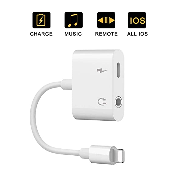 for iPhone Adapter to 3 5 mm Headphone Jack Adapter Audio and Charge  Adapter for iPhone 7/8Plus/XR/X/XS Earphones Adapter Jack Splitter Dual for