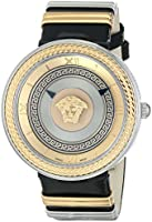 Versace Women's VLC020014 V-Metal Icon Stainless Steel Watch with Black Leather Band