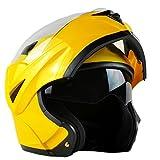 ILM 10 Colors Motorcycle Flip up Modular Helmet DOT (S, Yellow)