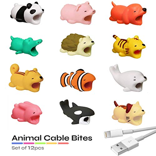 Animal Cable Bites 12 pcs. Cute Cable Biter Protector Compatible with iPhone, Samsung, Android, USB Type C. Cable Protector ()