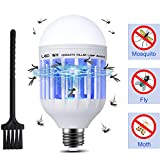 Rowrun Bug Zapper Light Bulb, Electronic Mosquito Repellent LED 15W 110V Insect Killer Lamp with 3 Modes Built in Fly Trap Fits in E26/E27 Socket for Indoor Outdoor Home Kitchen Bedroom Porch Patio Toilet Bathroom Yard Garage Garden Pack of 1