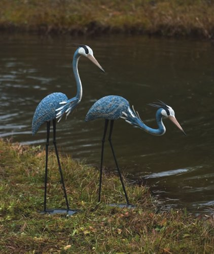 Ancient Graffiti Standing and Bowing Steel Heron Pair Outdoor Decor