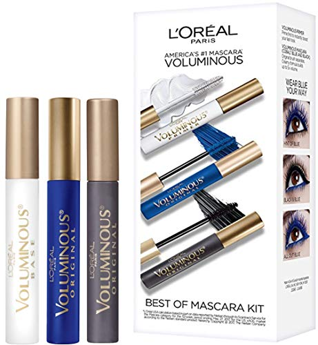 L'Oreal Paris Makeup Best of Voluminous Mascara Gift Set, Voluminous Lash Primer, Voluminous Original in Colbalt Blue and Voluminous Original in Black, 1 Kit
