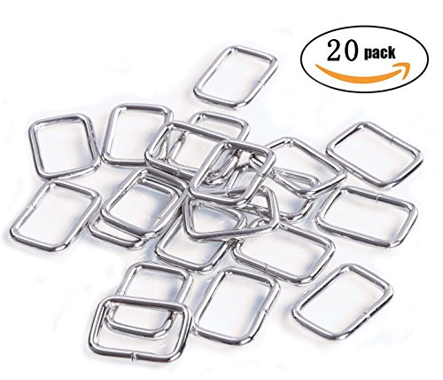Shapenty 20MM Rectangle Bag Purse Snap Hook Metal Loop Rings Webbing Belts Buckle, 20PCS (Metal Loop Hook)