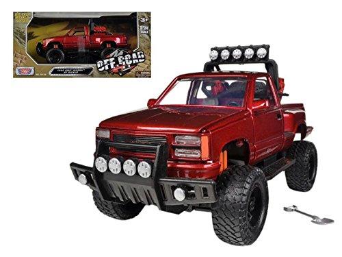 Motormax 79136 1992 GMC Sierra GT Pickup Truck Off Road Red 1/24 Diecast Model