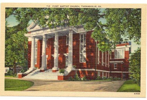 1940s-vintage-postcard-first-baptist-church-thomasville-georgia