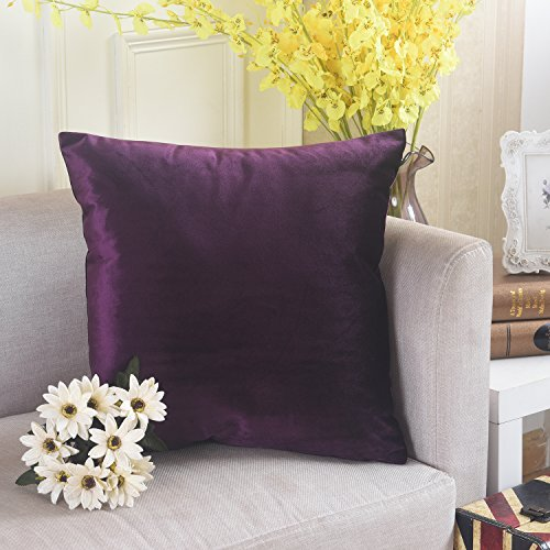 Home Brilliant Deluxe Velvet Square Throw Pillow Cover Cushion Case for Sofa, 18 x 18, Eggplant