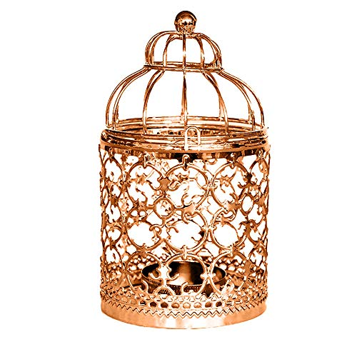 (GXOK Simple Hollow Candle Holder for Home, Hanging Hollow Out Iron Birdcage Candlestick Table Candle Holder for Parties Wedding (Rose Gold))