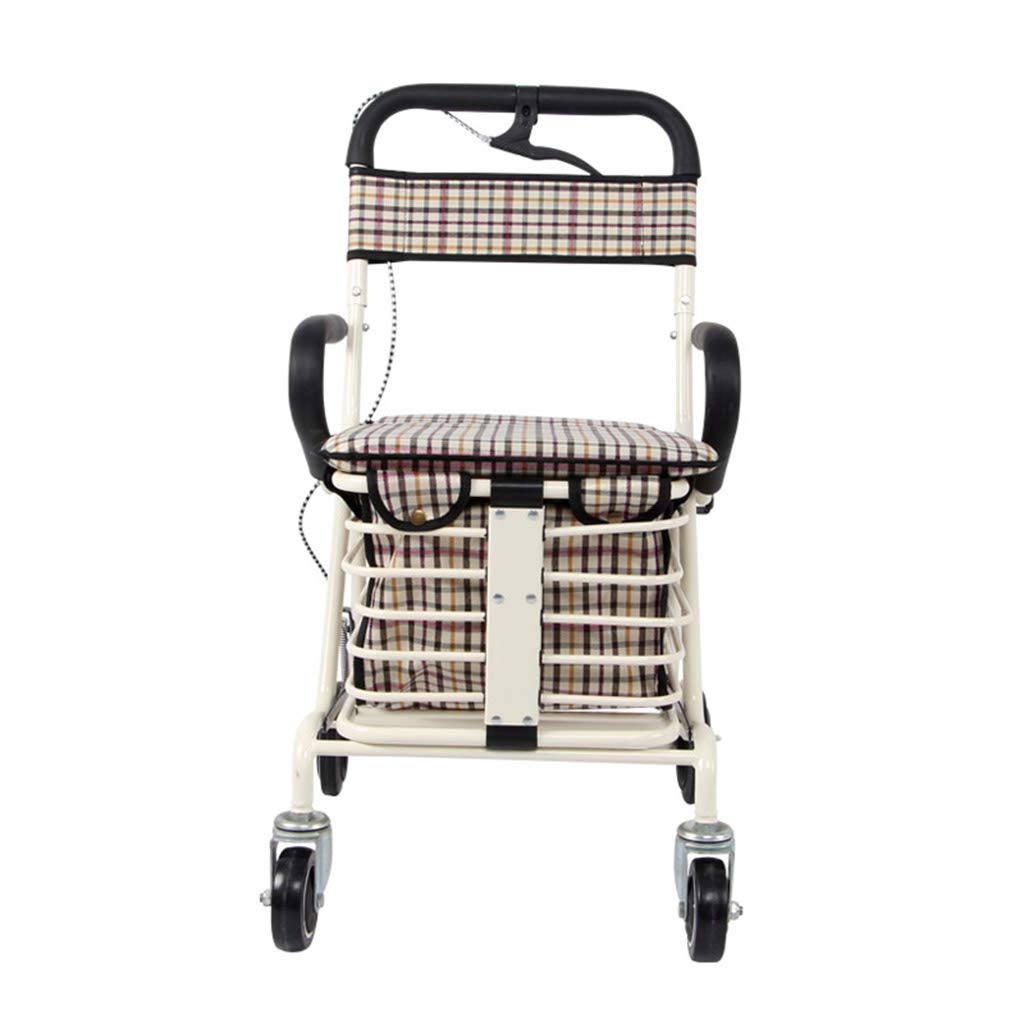 高齢者の手のプッシュは、軽い折り畳みアルミ合金の食料品の買い物カートを取ることができます高齢者4フィートの杖の歩行者 (色 : Single wheel white)  Single wheel white B07L6HM7F9