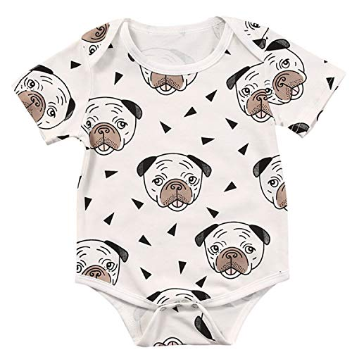 Jinbaolong Sale 0-24M Cute Newborn Baby Boy Girl Clothes Short Sleeve Animal Dog Baby Romper Jumpsuit Outfit Sunsuit Casual Costume
