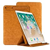 iPad Pro 10.5 Case,Businda Lightweight Smart Case with Pencil Holder PU Leather Trifold Standing Cover for 10.5 Inch iPad,Light Brown