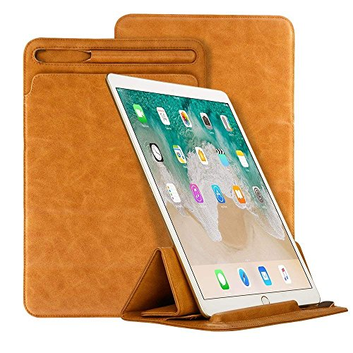iPad Pro 10.5 Case,Businda Lightweight Smart Case with Pencil Holder PU Leather Trifold Standing Cover for 10.5 Inch iPad,Light Brown by Businda