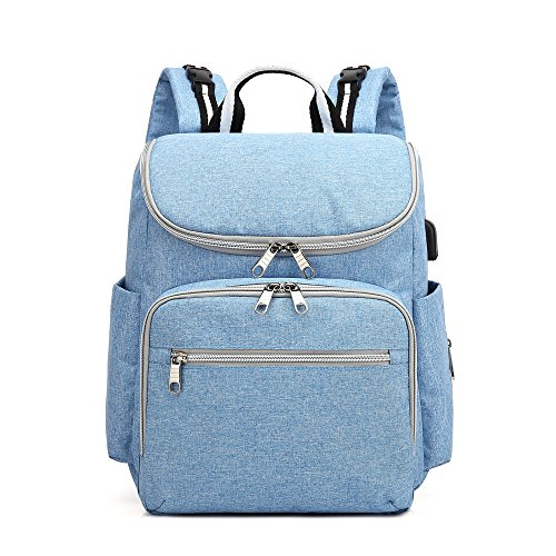 Waterproof Mummy Maternity Nappy Bag Kits Travel Backpack Nursing Bags (Blue) by Sunborls